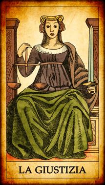 Carta dei Tarocchi La Giustizia